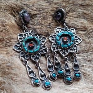 Turquoise amethyst dangle vintage earrings